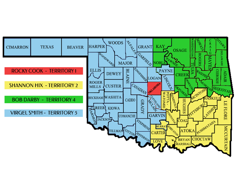 Oklahoma sales territories map