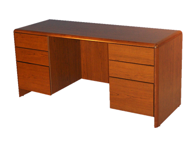Picture of CLEARANCE: ECL Kneehole Credenza NC No Center Drawer Walnut