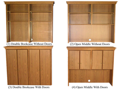 "Picture of CLEARANCE: HTG Dir Hutch 72"" Bookcase with Doors Mahogany"