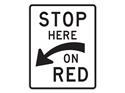 Picture of Stop Here On Red w/Curved Arrow