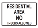 Picture of Residential Area No Trucks Allowed