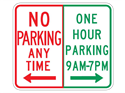 Picture of No Parking Any Time / 1 Hr Parking 9 AM - 7 PM w/Arrows