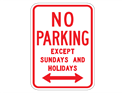 Picture of No Parking Except Sundays & Holidays w/2-Way Arrow