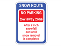 Picture of Snow Route No Parking Tow-Away Zone After 2 Inch Snowfall
