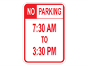 Picture of No Parking 7:30 AM To 3:30 PM (Highlighted NO)