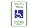 Picture of White-Reserved Parking State Disabled Parking Permit Required