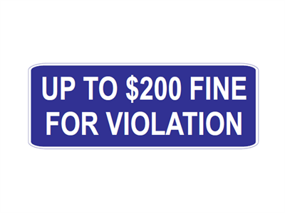Picture of Up To $200 Fine For Violation-Text