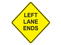 Picture of Left Lane Ends -Text