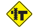 Picture of Railroad Crossing Left On T-Intersection