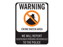 Picture of Warning Crime Watch Area We Will Report w/No Circle & Shadowman