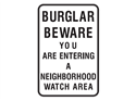 Picture of Burglar Beware You Are Entering A Neighborhhood Watch Area