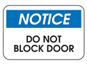 Picture of Notice Do Not Block Door