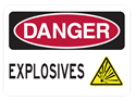 Picture of DANGER EXPLOSIVES W/ YELLOW TRIANGLE BLAST IMAGE