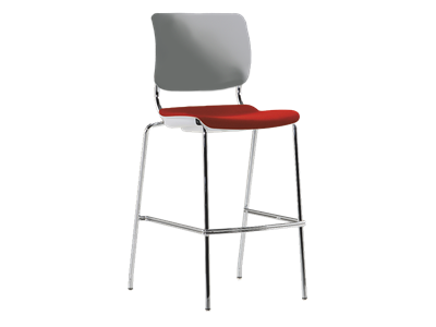 Picture of Sitka Armless Cafe Stool With Upholstered Seat And Poly Back