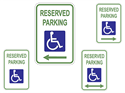 Picture of White-Reserved Parking Handicap Symbol w/Arrows