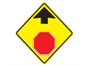 Picture of Stop Ahead w/Picture & Up Arrow