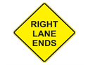 Picture of Right Lane Ends -Text