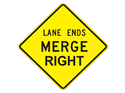 Picture of Lane Ends Merge Right -Text