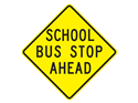 Picture of School Bus Stop Ahead-Text