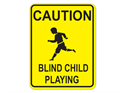 Picture of Caution Blind Child Playing