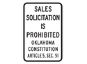 Picture of SALES SOLICITATION IS PROHIBITED OKLAHOMA CONSTITUTION ARTICLE 5, SEC.51