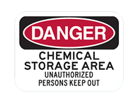 Picture of DANGER CHEMICAL STORAGE AREA UNAUTHORIZED PERSONS KEEP OUT